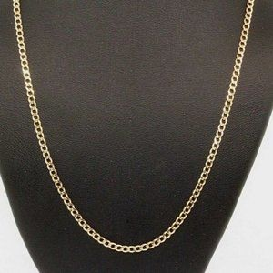 14k Solid Yellow Gold Curb Link Necklace Chain